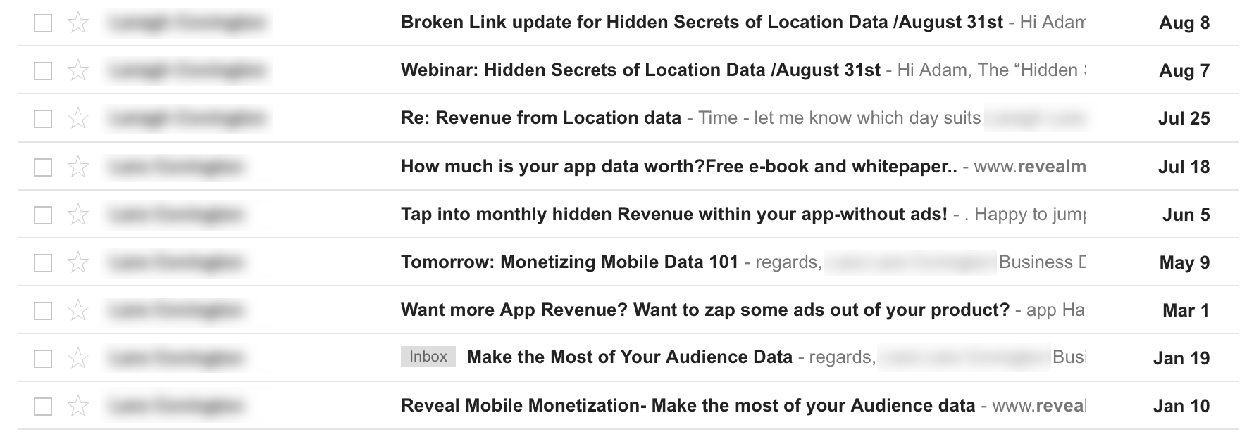 Screenshot of a list of unsolicited emails for location data